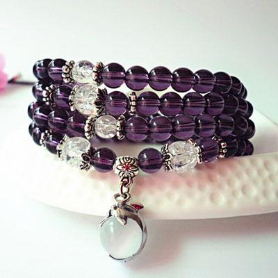 Buddhist Amethyst Mala Bracelet