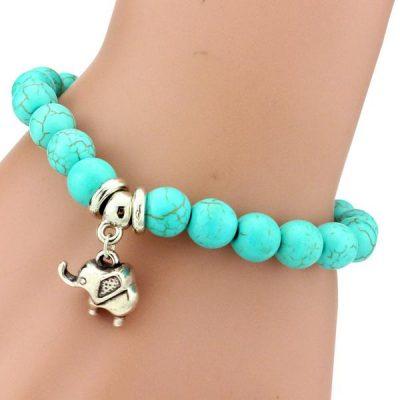 elephant-bracelet-charm-turquoise-stone