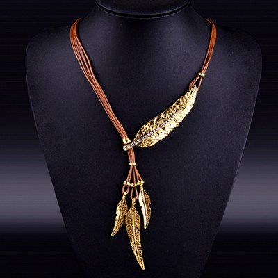 feather necklace of truth silver gold black image