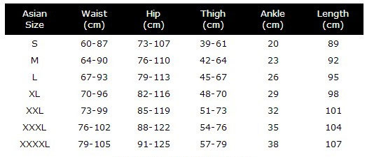 Galaxy Yoga Leggings size chart