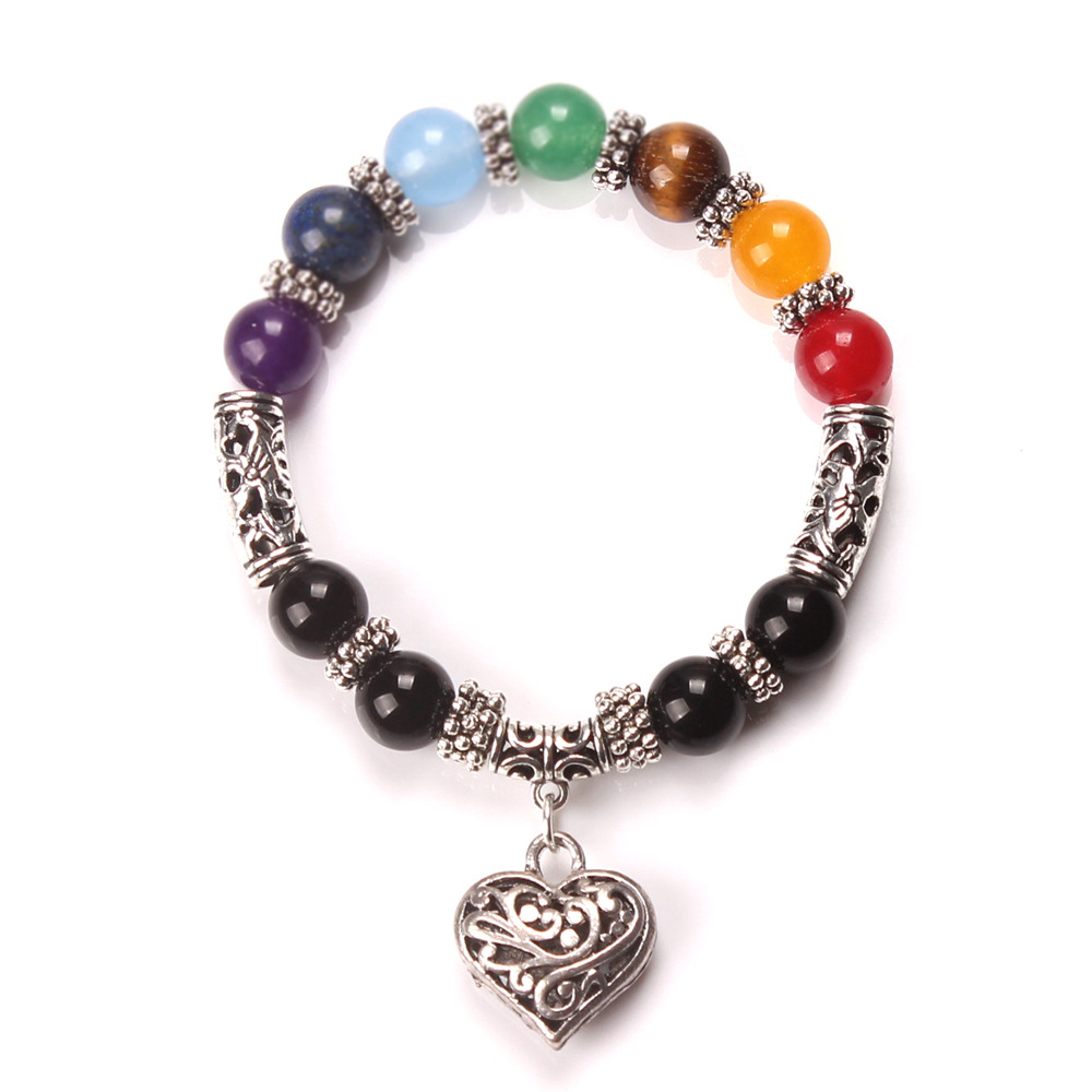 Healing 7 Chakras Heart Volcanic Stone Energy Bracelet Featuring A Silver Heart Charm