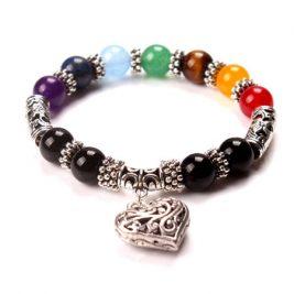 Healing 7 Chakras Volcanic Stone Energy Bracelet