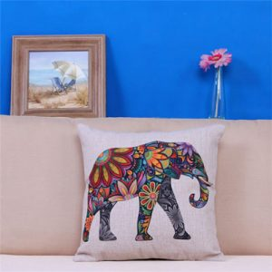 India Floral Elephant Pillow Case