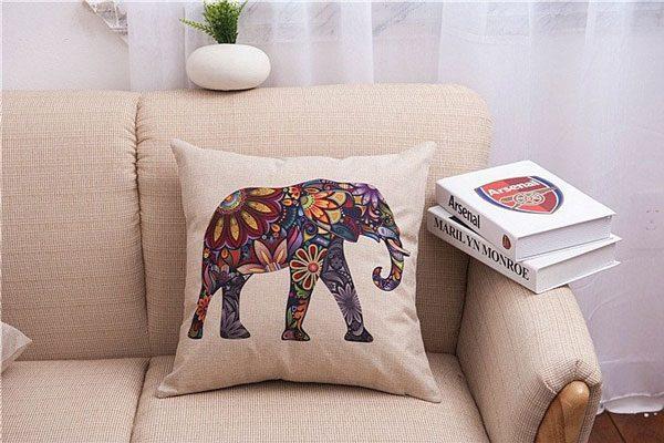 India Floral Elephant Pillow Case