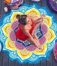 mandala lotus flower shape beach blanket photo image cover