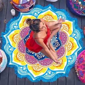 mandala lotus flower shape beach blanket blue cover image