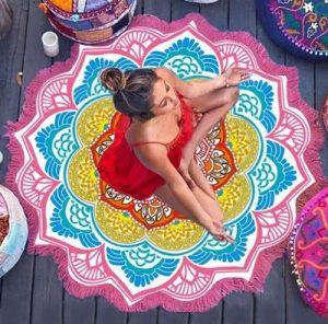pink mandala lotus flower shape beach blanket