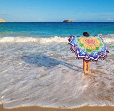 mandala lotus flower shape beach blanket purple cover image