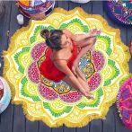 mandala-lotus-flower-shape-beach-blanket-yellow