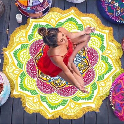 yellow mandala lotus flower shape beach blanket