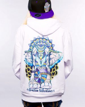 Positive Vibes Ganesha Elephant Hoodie For Women