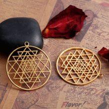 Sacred Sri Yantra Meditation Gold Pendant