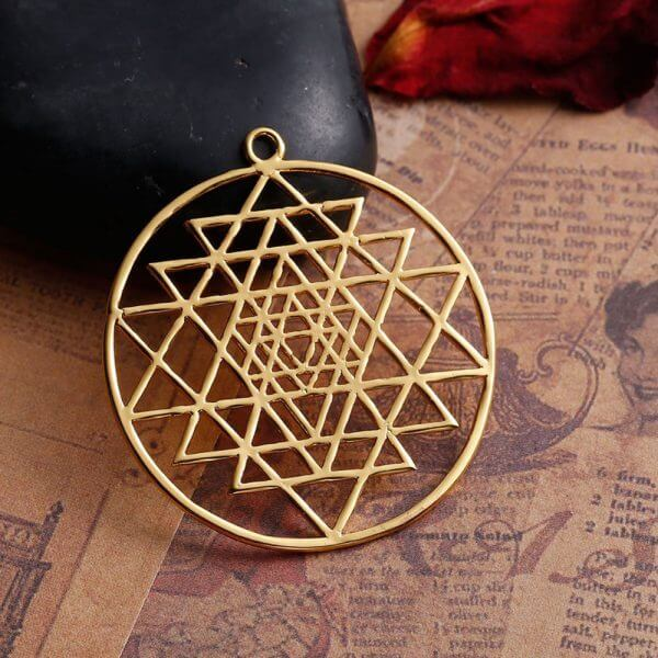 sri yantra gold pendant