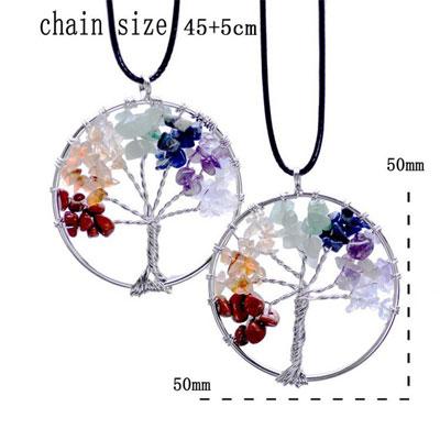 Tree Of Life 7 Chakra Semi-Precious Stone Necklace