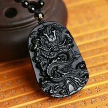 Natural Black Obsidian Dragon Necklace Image