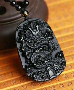 natural black obsidian dragon necklace image