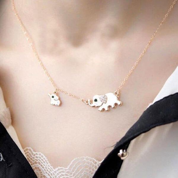 Cute Elephant Family Pendant Necklace