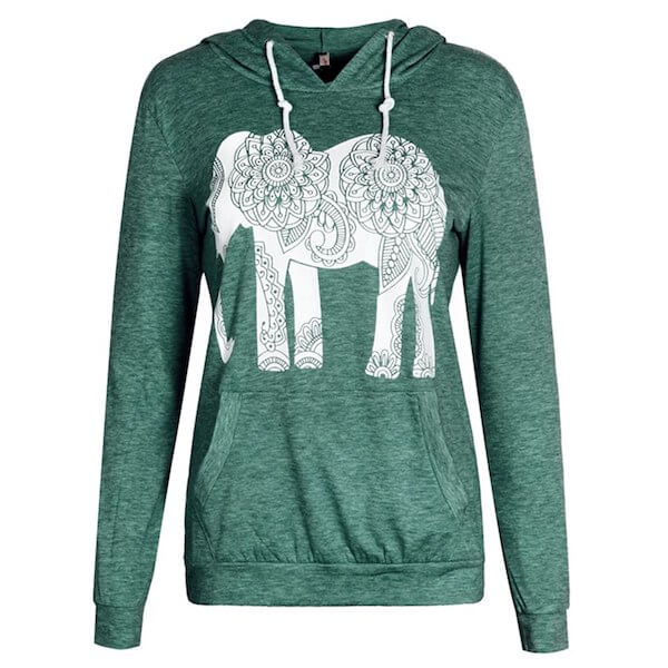 green sweatshirt with elephant