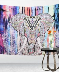 elephant mandala tapestry pink