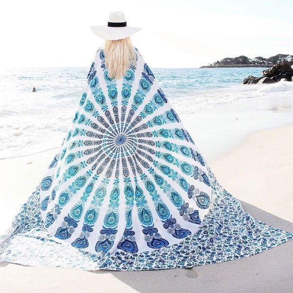 blue and white peacock blanket