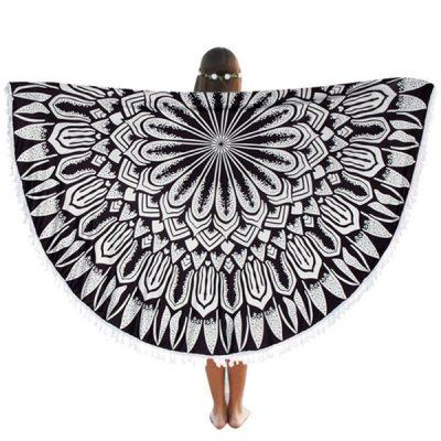 mandala-round-beach-blanket-black