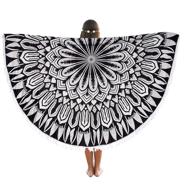 mandala-round-beach-blanket-black