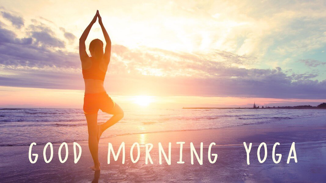 morning yoga in bed and beach