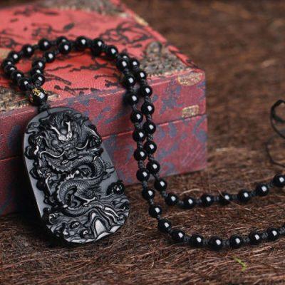 black obsidian dragon carved protective dragon pendant necklace