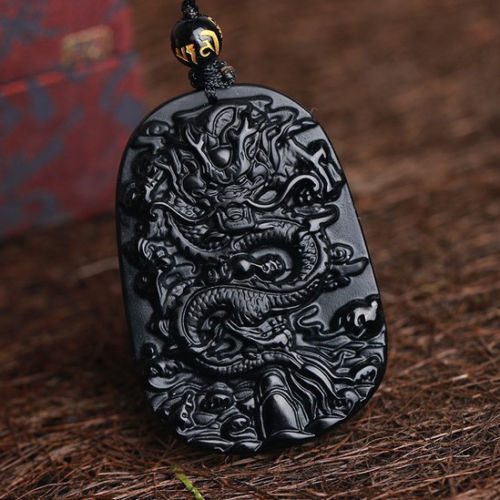 black obsidian dragon carved protective dragon necklace