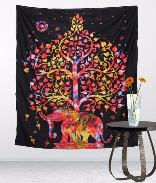 colorful elephant tree of life tapestry image