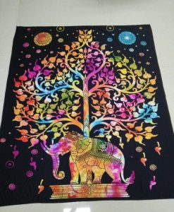 rainbow elephant tree of life tapestry image