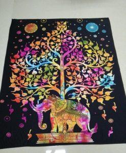 rainbow elephant tree of life tapestry image