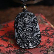 black obsidian dragon carved protective dragon