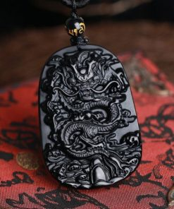black obsidian dragon carved protective dragon