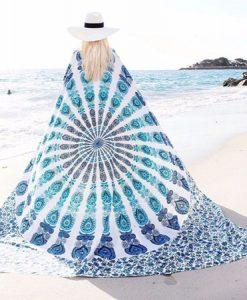 White Peacock Bohemian Blanket