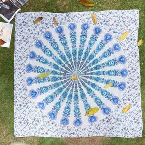White Peacock Bohemian Blanket