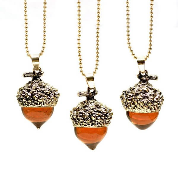 Acorn Water Drop Pendant Necklace