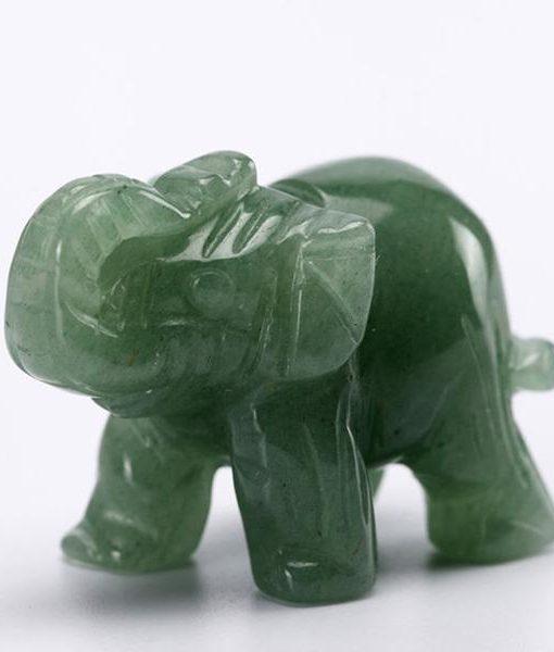 crystal elephant figurine green