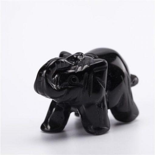 black obsidian elephant figurine