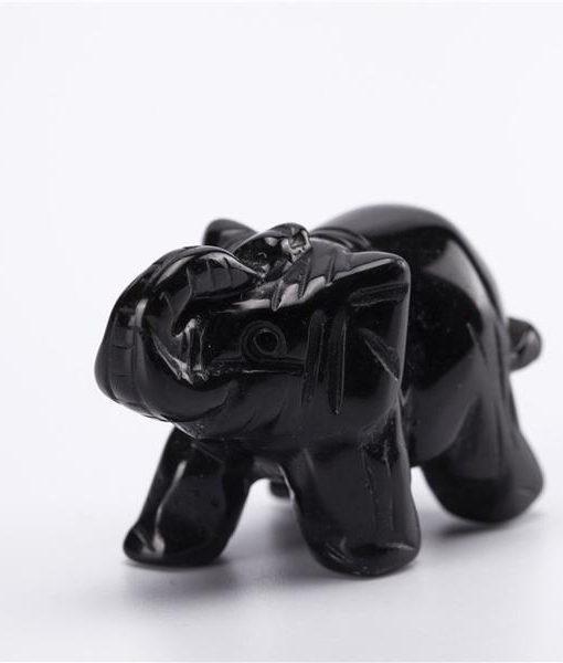 crystal elephant figurine obsidian