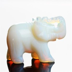 carved crystal elephant figurine opal