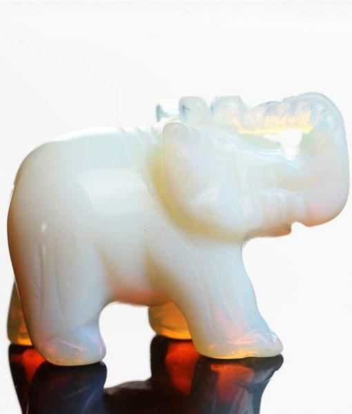 carved crystal elephant figurine opal