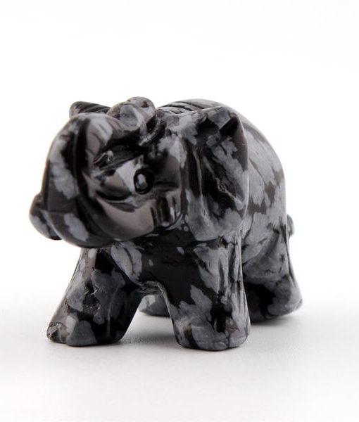 crystal elephant figurine snowflake obsidian