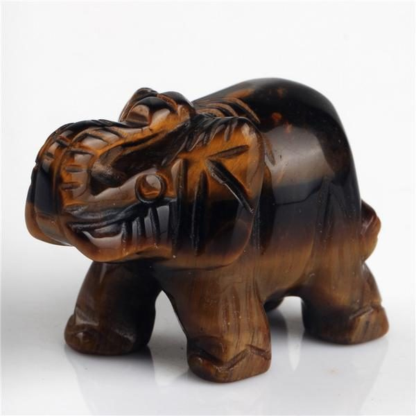 crystal tiger eye elephant figurine