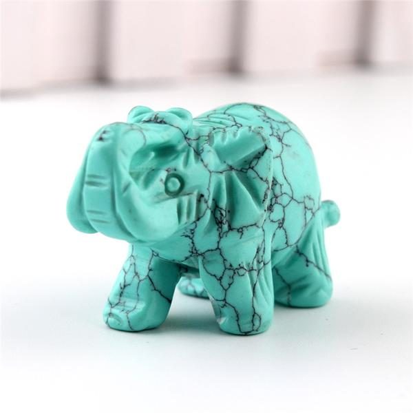 crystal turquoise elephant figurine
