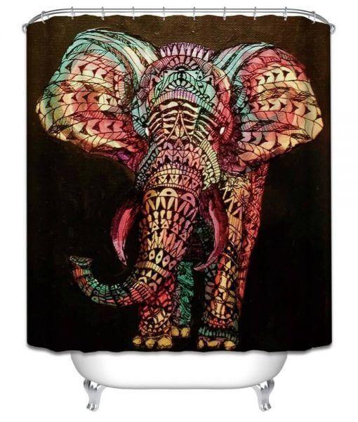COLORFUL MANDALA ELEPHANT SHOWER CURTAIN