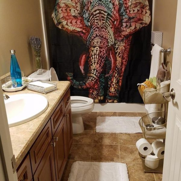 artsy elephant shower curtain cover image