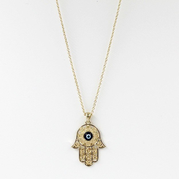 product hamsa evil blonde the chaos eye hand necklace