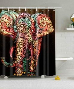 COLORFUL MANDALA ELEPHANT SHOWER CURTAIN