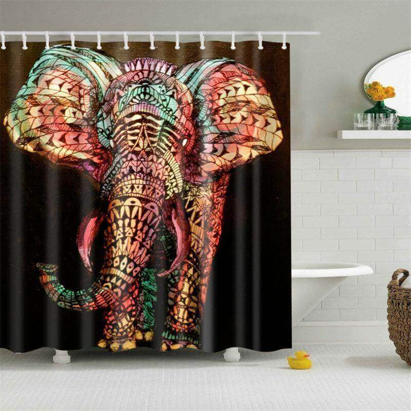 Colorful Mandala Elephant Shower Curtain The Yoga
